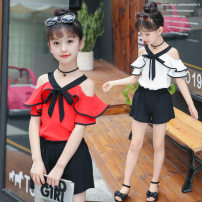 suit Other / other White, red 100 = 7, 110 = 9, 120 = 11, 130 = 13, 135 = 15 female summer Korean version Short sleeve + pants 2 pieces Thin money There are models in the real shooting Socket nothing Solid color children Giving presents at school Class B Three, four, five, six, seven, eight
