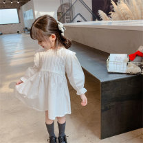 Dress white female Very fish 90, 100, 110, 120, 130 Cotton 100% spring and autumn Korean version Long sleeves lattice cotton Lotus leaf edge Class B Three, four, five, six, seven, eight Chinese Mainland