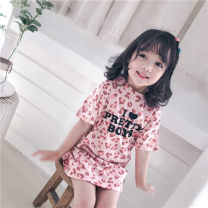 Dress Pink female Other / other 100 = 7, 110 = 9, 120 = 11, 130 = 13, 135 = 15, 145 = 17, 155 = 19 Cotton 100% summer leisure time Short sleeve Broken flowers cotton other Z1 Class A 2 years old, 3 years old, 4 years old, 5 years old, 6 years old, 7 years old, 8 years old