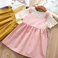 suit Other / other Yellow, pink 100 = 7, 110 = 9, 120 = 11, 130 = 13, 135 = 15 female summer college Short sleeve + skirt 2 pieces routine No model Socket nothing other cotton children Giving presents at school Class B Cotton 90% other 10%