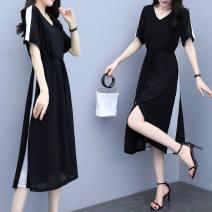 Women's large Summer 2021 black M [90-110kg], l [110-130], XL [130-150], 2XL [150-165], 3XL [165-180], 4XL [180-200] Dress singleton  commute thin Socket Short sleeve lady Medium length polyester Medium length