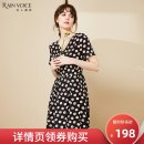 Dress Summer 2020 Black color M L XL XXL Mid length dress singleton  Short sleeve commute V-neck middle-waisted Solid color Socket Big swing routine 30-34 years old Celebrity clothes Ol style zipper More than 95% polyester fiber Polyester 100%