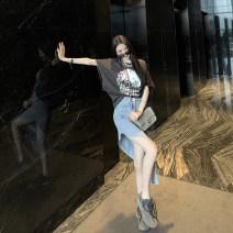 Fashion suit Summer 2020 S,M,L,XL Grey Top + denim skirt