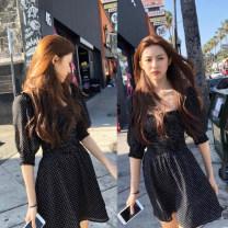 Dress Summer of 2019 Same black polka dot dress by Gao Yunzhen S.,M.,L. Short skirt singleton  25-29 years old naturaleye
