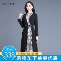 Dress Spring 2021 black M L XL 2XL 3XL Mid length dress Fake two pieces Long sleeves commute V-neck middle-waisted Solid color Socket A-line skirt routine Others 35-39 years old Type A Ellen Korean version Splicing AL20597FX More than 95% polyester fiber Polyester 100% Pure e-commerce (online only)