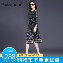 Dress Spring of 2018 Black flower M L XL 2XL 3XL Mid length dress singleton  three quarter sleeve commute Crew neck middle-waisted Decor Socket A-line skirt routine Others 35-39 years old Type A Ellen Simplicity Pleated stitching printing AL19E888A More than 95% Silk and satin silk Mulberry silk 100%