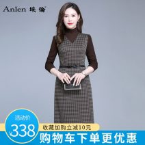 Dress Spring 2021 Brown check M L XL 2XL 3XL Mid length dress singleton  Long sleeves commute High collar middle-waisted lattice Socket A-line skirt routine 35-39 years old Type A Ellen Simplicity Splicing More than 95% polyester fiber Polyester 100% Pure e-commerce (online only)