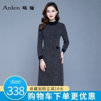 Dress Autumn 2020 Dark grey Caramel M L XL 2XL 3XL Mid length dress singleton  Long sleeves commute Half high collar middle-waisted Solid color Socket A-line skirt routine Others 35-39 years old Type A Ellen Simplicity Pocket stitching zipper More than 95% knitting polyester fiber Polyester 100%