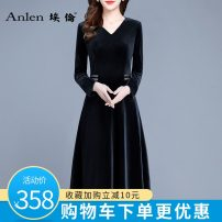 Dress Winter 2020 Black red blue purple M L XL 2XL 3XL Mid length dress singleton  Long sleeves commute V-neck middle-waisted Solid color Socket A-line skirt routine Others 35-39 years old Type A Ellen Simplicity Stitching zipper AL20550 More than 95% polyester fiber