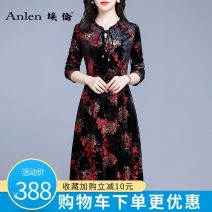 Dress Autumn 2020 Pre sale of Safflower on black background for 5 days M L XL 2XL 3XL Mid length dress singleton  Long sleeves commute other middle-waisted Decor Socket A-line skirt routine Others 35-39 years old Type A Ellen Simplicity Pleated auricular lace up zipper AL20320 More than 95%