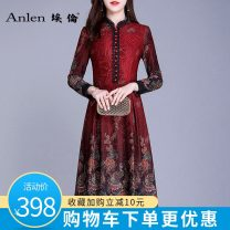 Dress Winter of 2018 Red pre-sale 5 days M L XL 2XL 3XL Mid length dress singleton  Nine point sleeve commute stand collar middle-waisted Decor Socket A-line skirt routine Others 35-39 years old Type A Ellen Retro More than 95% polyester fiber Polyester 95% polyurethane elastic fiber (spandex) 5%