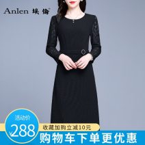Dress Autumn 2020 Black pre-sale 5 days M L XL 2XL 3XL Mid length dress singleton  Long sleeves commute Crew neck middle-waisted Solid color Socket One pace skirt routine Others 35-39 years old Type A Ellen Simplicity Stitched zipper lace AL20328 More than 95% polyester fiber Polyester 100%