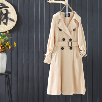 Windbreaker Autumn 2020 S,M,L,XL Black, khaki, deep khaki Long sleeves routine have more cash than can be accounted for double-breasted tailored collar routine Solid color Skirt type To drill 96% and above polyester fiber