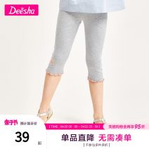 trousers Deesha / Desha female summer Cropped Trousers leisure time There are models in the real shooting Leggings Leather belt middle-waisted Cotton blended fabric Don't open the crotch Cotton 94% polyurethane elastic fiber (spandex) 6% Class B Summer 2021