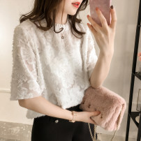 Women's large Summer of 2019 White, black Large XL, large L, m, 2XL, 3XL, 4XL T-shirt Two piece set commute easy thin Socket Short sleeve Solid color Korean version Crew neck Medium length polyester Three dimensional cutting routine Other / other 81% (inclusive) - 90% (inclusive) Lotus leaf edge