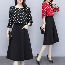 Women's large Autumn of 2019 Red, black Large XL, large XXL, large XXL, large XXXXL, large XXXXL Dress Two piece set commute Self cultivation moderate Socket three quarter sleeve Dot Korean version square neck Medium length Cotton, polyester Three dimensional cutting Princess sleeve Other / other