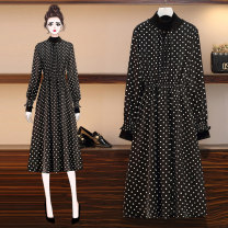 Women's large Spring 2020 Picture color Large XL, large XXL, large XXL, large XXXXL, large L Dress singleton  commute Self cultivation moderate Socket Long sleeves Dot Korean version stand collar Medium length cotton Collage Princess sleeve 25-29 years old 81% (inclusive) - 90% (inclusive)