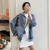 Women's large Spring 2020 Denim jacket, white long T, black long t Large XL, large XXL, large XXL, large XXXXL, large L Jacket / jacket singleton  commute easy moderate Cardigan Long sleeves Plants and flowers Korean version Polo collar Medium length Denim Three dimensional cutting raglan sleeve