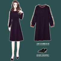 Women's large Spring 2020 Picture color Large XL, large XXL, large XXL, large XXXXL, large XXXXL Dress singleton  commute easy moderate Socket Long sleeves Solid color Korean version Crew neck Medium length Cotton, polyester Collage routine 25-29 years old Lace stitching Medium length other