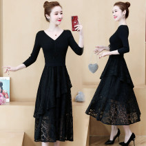Women's large Spring of 2019, autumn of 2019 black Large XL, large L, 2XL, 3XL, 4XL, 5XL Dress singleton  commute Self cultivation moderate Conjoined Long sleeves Solid color Korean version V-neck Medium length polyester Collage routine Other / other 81% (inclusive) - 90% (inclusive) Medium length