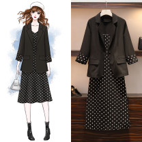 Women's large Autumn of 2019 Picture color Large XL, large XXL, large XXL, large XXXXL, large XXXXL suit Two piece set commute easy moderate Socket three quarter sleeve Dot, solid Korean version Half open collar Medium length polyester Three dimensional cutting routine Other / other pocket other