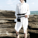 Dress Spring 2020 White, black S,M,L Mid length dress singleton  Long sleeves commute stand collar Loose waist Solid color Single breasted A-line skirt pagoda sleeve Others 25-29 years old Type A Other / other Korean version Auricularia auricula, lotus leaf, stitching More than 95% other cotton