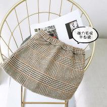 skirt 100cm (tag 100 / 5), 110cm (tag 110 / 7), 120cm (tag 120 / 9), 130cm (tag 130 / 11), 140cm (tag 140 / 13), 150cm (tag 150 / 15), 160cm (tag 160 / 17) Brown camel lattice AI shangduo female Cotton 100% winter skirt Korean version lattice A-line skirt cotton ZD8BSQ0030 Class B
