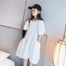 Dress Comfortable white female AI shangduo Height 120cm (Skirt Size 120), height 130cm (Skirt Size 130), height 140cm (Skirt Size 140), height 150cm (Skirt Size 150), height 160cm (skirt size 160), height 165-170cm (Skirt Size 165), [candy 132 / 52 try on 130] Other 100% summer Korean version cotton