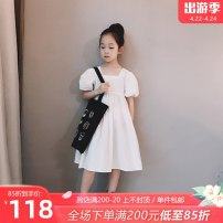 Dress white female AI shangduo Other 100% summer Korean version Short sleeve Solid color other A-line skirt ZX21LYQ001 Class B Six, seven, eight, nine, ten, eleven, twelve, thirteen, fourteen Chinese Mainland