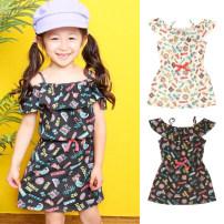 Dress female Other / other 90cm,100cm,110cm,120cm,130cm Polyester 65% cotton 35% summer Hip hop Skirt / vest other Cotton polyester Lotus leaf edge