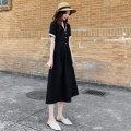 Dress Summer 2021 black S,M,L,XL,2XL longuette singleton  Short sleeve commute V-neck Solid color Socket Type A Evil Allah / Maura mal518-0219 other