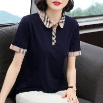 T-shirt Navy, black, pink, gray M,L,XL,2XL,3XL,4XL Summer 2020 Short sleeve Polo collar Self cultivation Regular routine commute cotton 96% and above 40-49 years old Simplicity classic Solid color, stitching Button, button