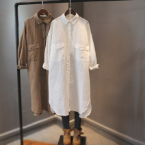 shirt White, black, brown Single code number Spring 2021 hemp 96% and above Long sleeves commute Medium length Polo collar Single row multi button routine Solid color Baorui Korean version