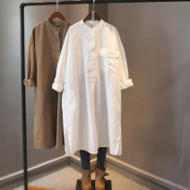 Dress Spring 2021 White, black, brown Single code number Mid length dress singleton  Nine point sleeve commute Loose waist Solid color Socket routine New pistil literature More than 95% hemp