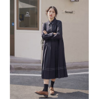 Dress Spring 2021 Dark Khaki, Navy XS,S,M Mid length dress singleton  Long sleeves commute Polo collar Loose waist Solid color Single breasted A-line skirt routine 18-24 years old Type A Ouyang Xi Button 31% (inclusive) - 50% (inclusive) polyester fiber