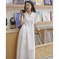 Dress Summer 2021 XS,S,M,L Mid length dress Short sleeve Polo collar Loose waist Solid color routine Others Type H other cotton