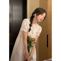 Dress Summer 2021 Pure white XS,S,M,L Mid length dress singleton  Short sleeve commute Crew neck Solid color Socket routine 18-24 years old Ouyang Xi pocket File rb8150 / 20695 31% (inclusive) - 50% (inclusive) other cotton