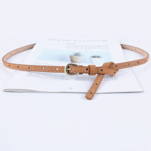 Belt / belt / chain pigskin White, black, red, khaki, army green, Navy, coffee, camel, beige, leopard female belt Versatile Single loop Children, youth, youth, middle age, old age Pin buckle Geometric pattern Frosting 1cm copper alone