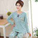 Pajamas / housewear set female Han Zhiyun M (recommended 155-160cm, within 100kg) l (recommended 160-165cm, within 120kg) XL (recommended 165-140cm, within 140kg) XXL (recommended 170-173cm, within 160kg) XXL (recommended 170-175cm, within 190kg) cotton Long sleeves Simplicity Leisure home autumn