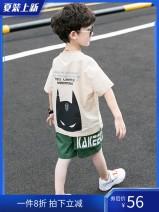 suit Chrome Anta wild goose Yellow jacket + black pants, light Khaki jacket + green pants, coffee jacket + green pants, white jacket + black pants, blue jacket + black pants 160cm,140cm,120cm,150cm,110cm,130cm,100cm male summer Korean version Short sleeve + pants 2 pieces Thin money Socket nothing