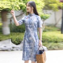 cheongsam Summer 2020 S,M,L,XL Green, blue Short sleeve Single cheongsam Retro Low slit daily Oblique lapel Decor Piping Yu Xiang cotton 71% (inclusive) - 80% (inclusive)