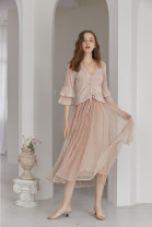 Dress Autumn of 2019 Cherry blossom pink S, M Mid length dress singleton  three quarter sleeve commute V-neck High waist stripe Socket A-line skirt 25-29 years old Type H literature 51% (inclusive) - 70% (inclusive) Crepe de Chine Cellulose acetate