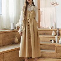 Dress Autumn of 2018 khaki S, M longuette singleton  Sleeveless commute One word collar High waist Solid color Single breasted A-line skirt camisole 25-29 years old Type A Goujiu / Gojo Retro Pocket, lace, strap G18AW0817QZ14 More than 95% brocade cotton