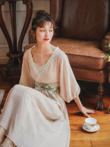 Dress Summer 2020 Coral powder, coral powder pre-sale 7 days S,M,L longuette singleton  Nine point sleeve commute V-neck Loose waist Solid color Socket Big swing routine Others 25-29 years old Type A Nanfeng Valley Retro Lace, lace More than 95% other Cellulose acetate