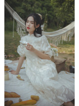 Dress Spring 2021 Apricot cream, apricot cream pre-sale 12 working days S,M,L longuette singleton  Short sleeve commute stand collar High waist Solid color Socket Princess Dress puff sleeve Others 25-29 years old Type A Nanfeng Valley Retro Splicing 81% (inclusive) - 90% (inclusive) other