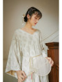 Dress Autumn 2020 Apricot rice, apricot rice pre-sale for 10 days S,M,L Mid length dress singleton  Long sleeves commute V-neck Loose waist Solid color Socket Big swing routine Others 25-29 years old Type H Nanfeng Valley Retro Auricularia auricula, lace, stitching, lace More than 95% Lace
