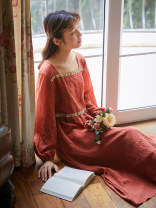 Dress Autumn 2020 Rust red, rust red for 10 days S,M,L longuette singleton  Long sleeves commute square neck middle-waisted other Socket A-line skirt routine Others 25-29 years old Type A Nanfeng Valley Retro Embroidery, stitching More than 95% other Cellulose acetate