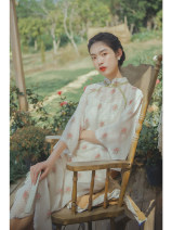 cheongsam Spring 2021 S,M,L Light green, light green pre-sale 15 working days, sling, sling pre-sale 10 working days, light green pre-sale 21 working days three quarter sleeve long cheongsam Retro Low slit daily double-breasted  Decor 25-35 years old Piping Nanfeng Valley Cellulose acetate