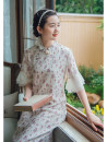 cheongsam Summer 2020 S,M,L Short sleeve Single cheongsam Retro No slits daily Oblique lapel Decor 25-35 years old Piping Nanfeng Valley Cellulose acetate 96% and above