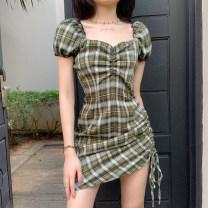 Dress Summer 2020 green S,M,L Short skirt singleton  Short sleeve One word collar High waist zipper puff sleeve Type A 81% (inclusive) - 90% (inclusive) polyester fiber